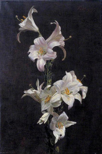 ❀ Blooming Brushwork ❀ - garden and still life flower paintings - Henri Fantin-Latour | Lilies