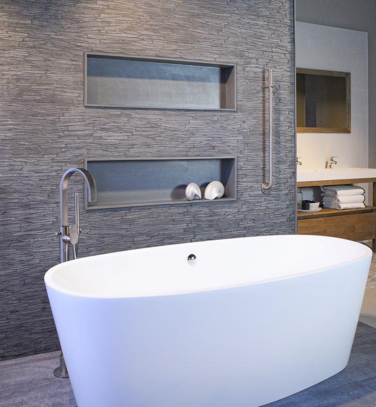 Asto moderne badkamer met leisteen en vrijstaand bad asto badkamers pinterest met - En grijze bad leisteen ...