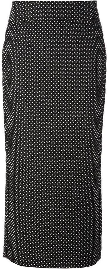 €231, Schwarzer und weißer gepunkteter Midirock von Emporio Armani. Online-Shop: farfetch.com. Klicken Sie hier für mehr Informationen: https://lookastic.com/women/shop_items/104583/redirect