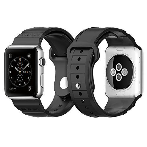 Apple Watch Band, Spigen® Apple Watch Strap (42mm) [HYBRID POLYMER] Rugged Band Black [ULTRA COMFORT] (2015) - Black (SGP11582)   // Look the price and customers reviews: http://ibestgadgets.com/product/apple-watch-band-spigen-apple-watch-strap-42mm-hybrid-polymer-rugged-band-black-ultra-comfort-2015-black-sgp11582/
