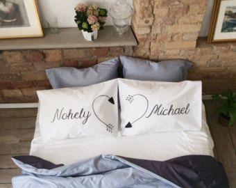 Personalizada almohada de nombres personalizado par su sus fundas de almohada corazón boda regalo parejas Fundas Funda Set 2 º aniversario de algodón