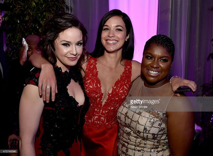 Actresses Shelley Regner, Alexis Knapp and Ester Dean pose at the after party for the premiere of Universal Pictures' 'Pitch Perfect 2' at the Nokia Theatre L.A. Live on May 8, 2015 in Los Angeles, California.