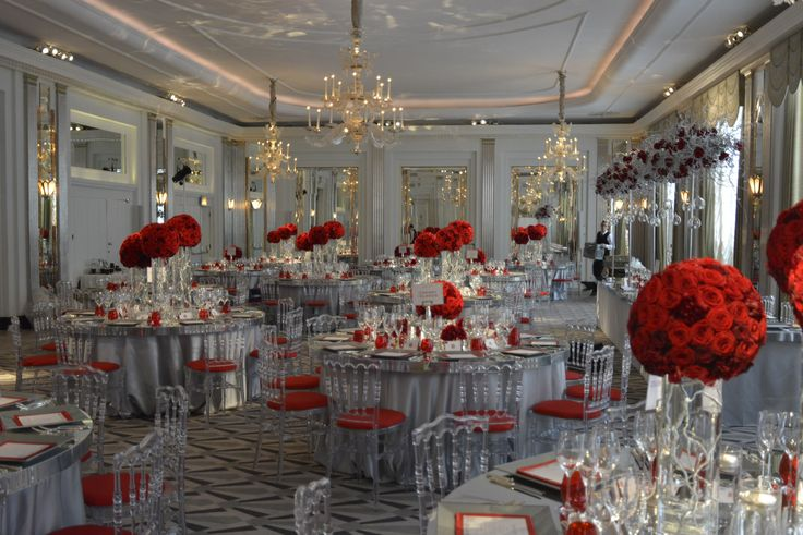 Silver Mirror Table - Round and also a Rectangular Top Table (designed at a bespoke length). With Ice Napoleon Chairs and matching red seat pads.