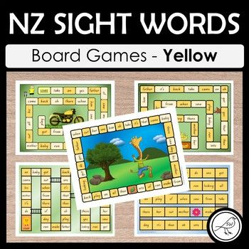 NZ sight words - Yellow - BOARD GAMES A set of 5 colourful and engaging board games for your students to practise their sight words at the Yellow level. Sight words are read when the player lands in that square. Some games have an endpoint (where players reach the 'finish') and some games are ongoing until the allocated time is up, or