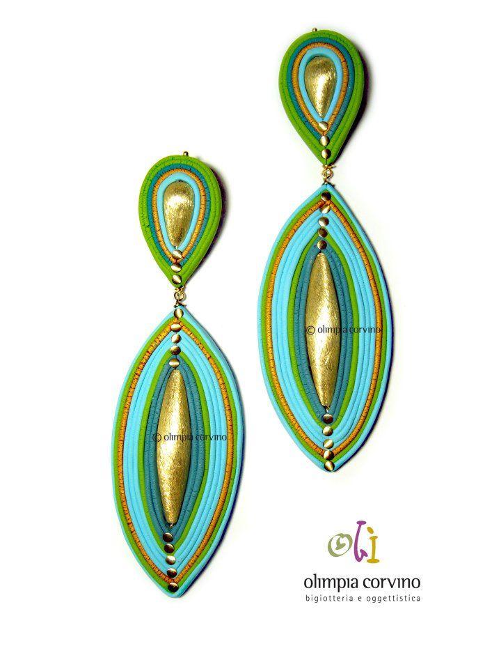 faux soutache polymer clay earrings