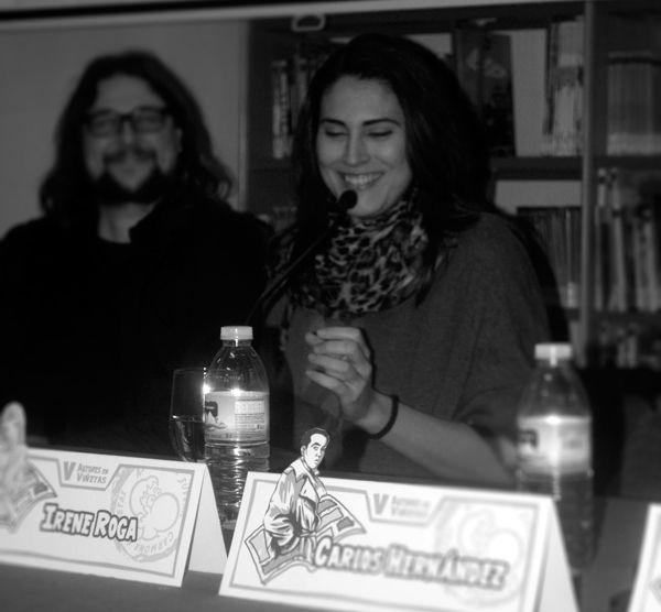 """V edición de Autores en Viñetas. Mesa """"Encuentro comiquero en Sevilla"""", Diego Galindo, Irene Roga   — en Carmona."""