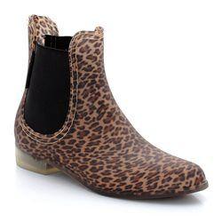 Stivali della pioggia stile chelsea, fantasia leopardata BE ONLY