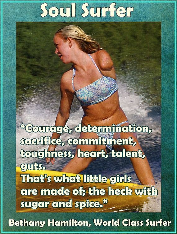 "Bethany Hamilton Soul Surfer Photo Quote Mini Poster Wall Art Print 8x11"" What Little Girls Made Of - Free USA Shipping"