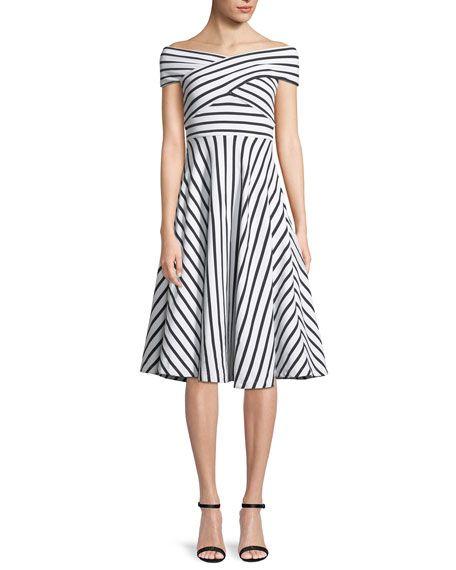 d3ebf696fef6 Jill Striped Off-the-Shoulder Dress