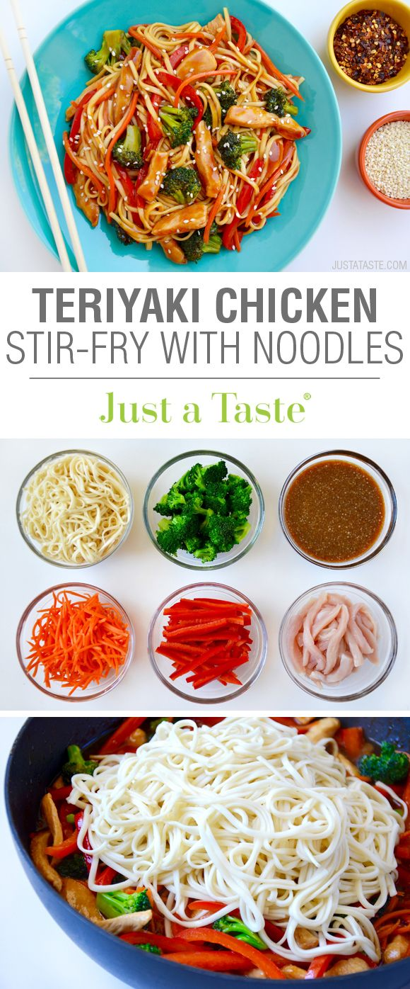 Teriyaki Chicken Stir-Fry with Noodles recipe via justataste.com