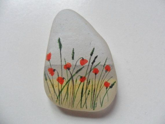 Poppies on the beach  miniature painting on sea glass by Alienstoatdesigns, $19.00