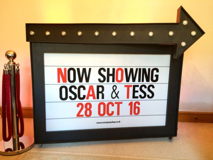 Personalised Cinema Sign for Weddings & Parties. Light-up Sign with the wording of your choice. Available to hire from www.eventcasino.co.uk #cardiffcasinocompany #cardifffuncasino