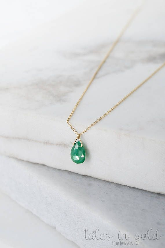 Emerald Necklace Birthstone Necklace 14k Gold Necklace