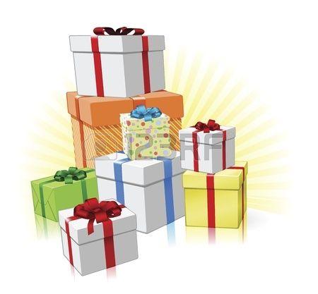 Haufen von liebevoll verpackte Geschenke f r Weihnachten Geburtstag oder andere Feier Lizenzfreie Bilder