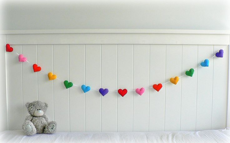 rainbow+nursery+decor | Rainbow felt hearts banner/ garland/ bunting - nursery decor ...