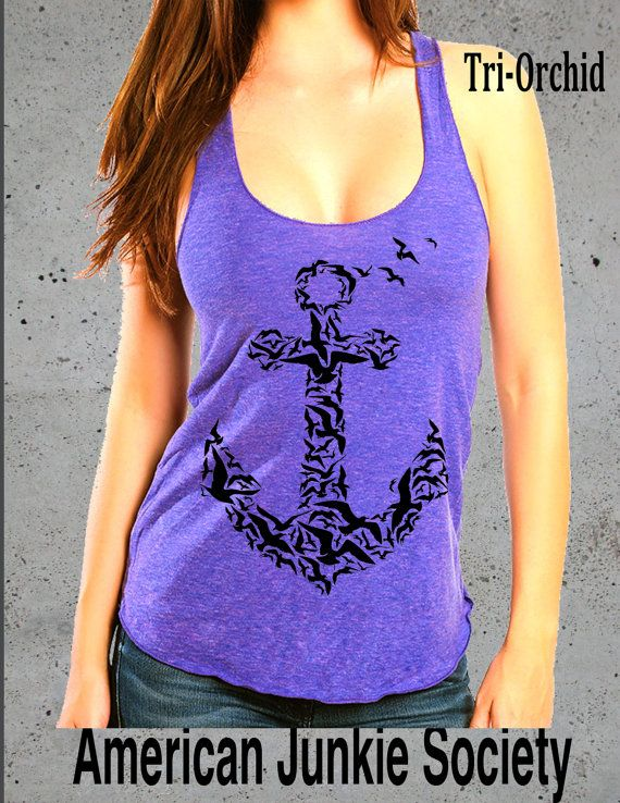 Anchor Birds Tank Top shirt. Women's American Apparel soft ultra thin Tri-blend Tank. Animal , nautical, ocean   S M L ( 7 Colors Available)