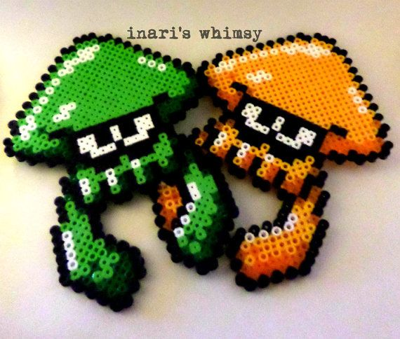 Splatoon Squid Perler by InarisWhimsy on Etsy