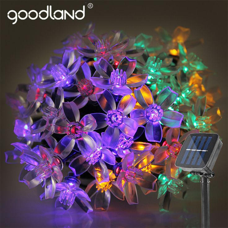 Goodland 5M Solar LED String Lights Waterproof LED Light Outdoor Garden Lighting For Christmas Festi-  Item Type: Beads  Model Number: LT00550  Waterproof: YES  Brand Name: goodland  Voltage: 6V  Power Source: Solar  Shape: Floral  Plug Type: None  Length: 5M  LED Quantity: 50 LEDs  Emitted Color: RGB / Warm White  Application: Christmas,Party,Home,Hotel,KTV,Shopwindow...  Certification: CE, RoHS  Modes: Static Light / Flashing Light  Down-Lead: 2M  Solar Power: 2V 110mA  Switch: ON / OFF…