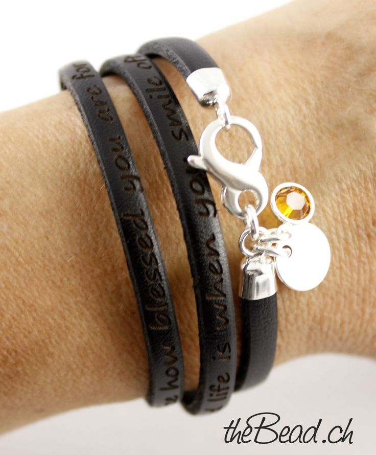 Lederarmband mit Gravur - leather bracelet with your personal engraving - swiss made by theBead
