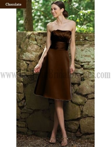 Superb Fun Bridesmaid Gown Strapless Cascading Ruffle Sleeveless Knee Length Multi Color Champagne Wholesale Wedding Party Dresses