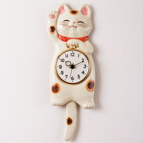 Lucky-cat-Japanese-SETO-ware-porcelain-Manekineko-wall-pendulum-clock-for-gift