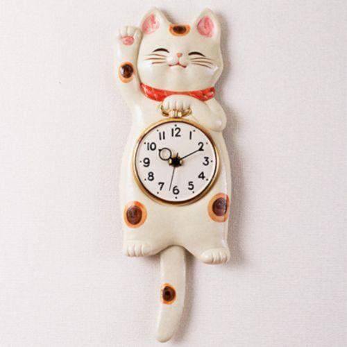 Lucky-cat-Japanese-SETO-ware-porcelain-Manekineko-wall-pendulum-clock-for-gift