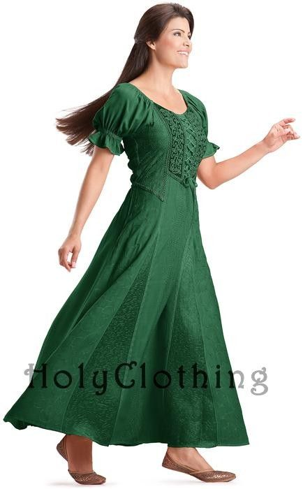 Green Boho/ Ren Faire Dress by Holy Clothing