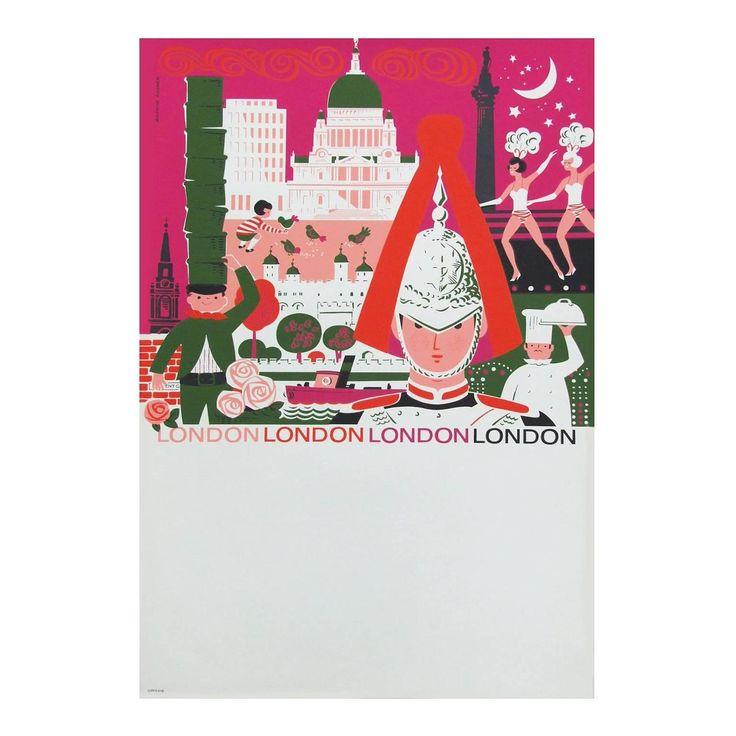 1960s London British Travel Poster by Daphne Padden, Pop Art Illustration Design | 1stdibs.com