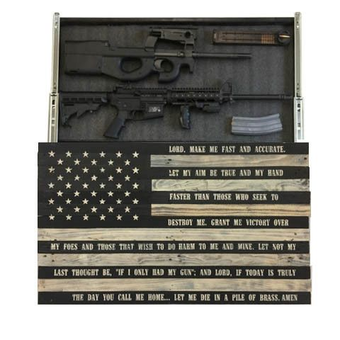 Gunfighters Prayer Flag Slider The American Flag represents life, liberty, and the pursuit of happiness. This timeless image has been painstakingly re-created out of re-purposed pallet wood to create