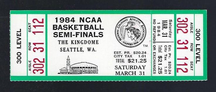 1984 NCAA BASKETBALL CHAMPIONSHIP FINAL FOUR FULL UNUSED TICKET GEORGETOWN HOYAS #GeorgetownHoyas