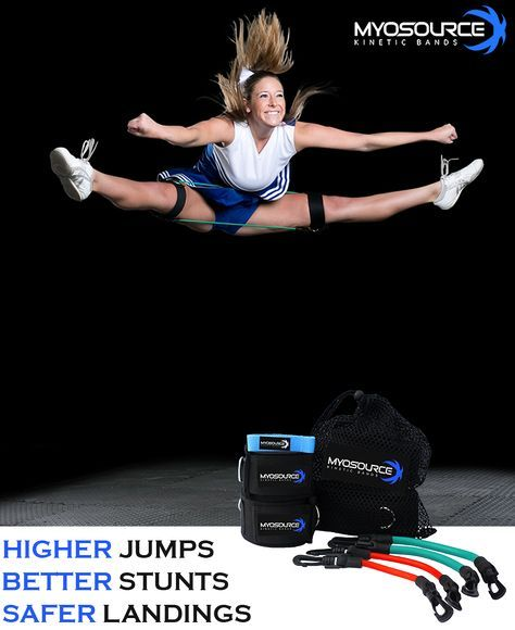 Cheerleading Goals: Better cheer jumps. Cheerleading workouts using the Kinetic Bands to increase flexibility and range of motion for higher jumps. Use coupon code PINIT15 for 15% off cheerleading equipment.