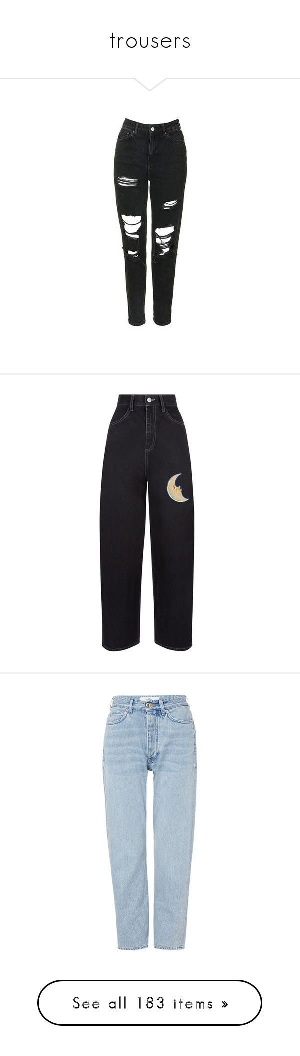 """""""trousers"""" by hetasdfghjkl ❤ liked on Polyvore featuring jeans, pants, bottoms, topshop, washed black, high rise jeans, high-waisted jeans, high waisted distressed jeans, ripped skinny jeans and cuffed skinny jeans"""