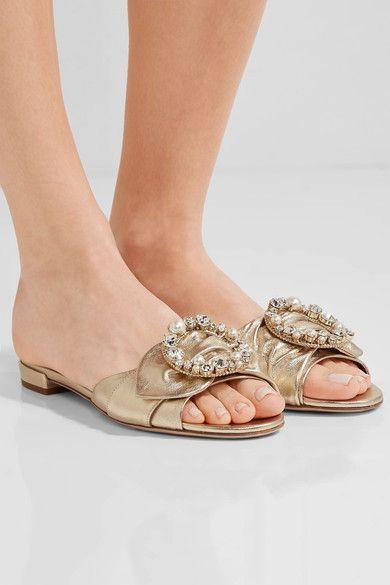 Miu Miu - Embellished Metallic Leather Slides - Gold - IT38.5