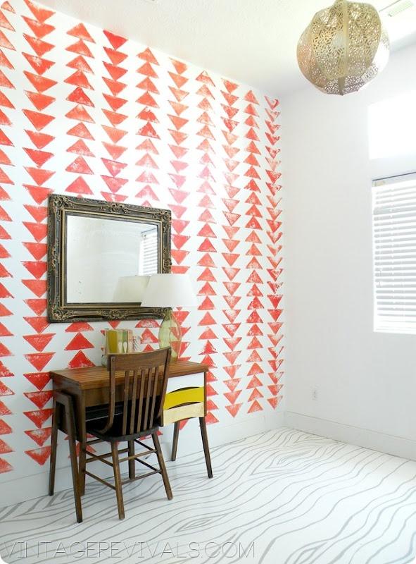Easy DIY Desk Tutorial - love the painted draws.  Note the colour match to books on the desk: Wall Patterns, Butcher Blocks, Diy Desks, Vintage Revival, Faux Butcher, Easy Diy, Desks Tutorials, Accent Wall, Blocks Desks