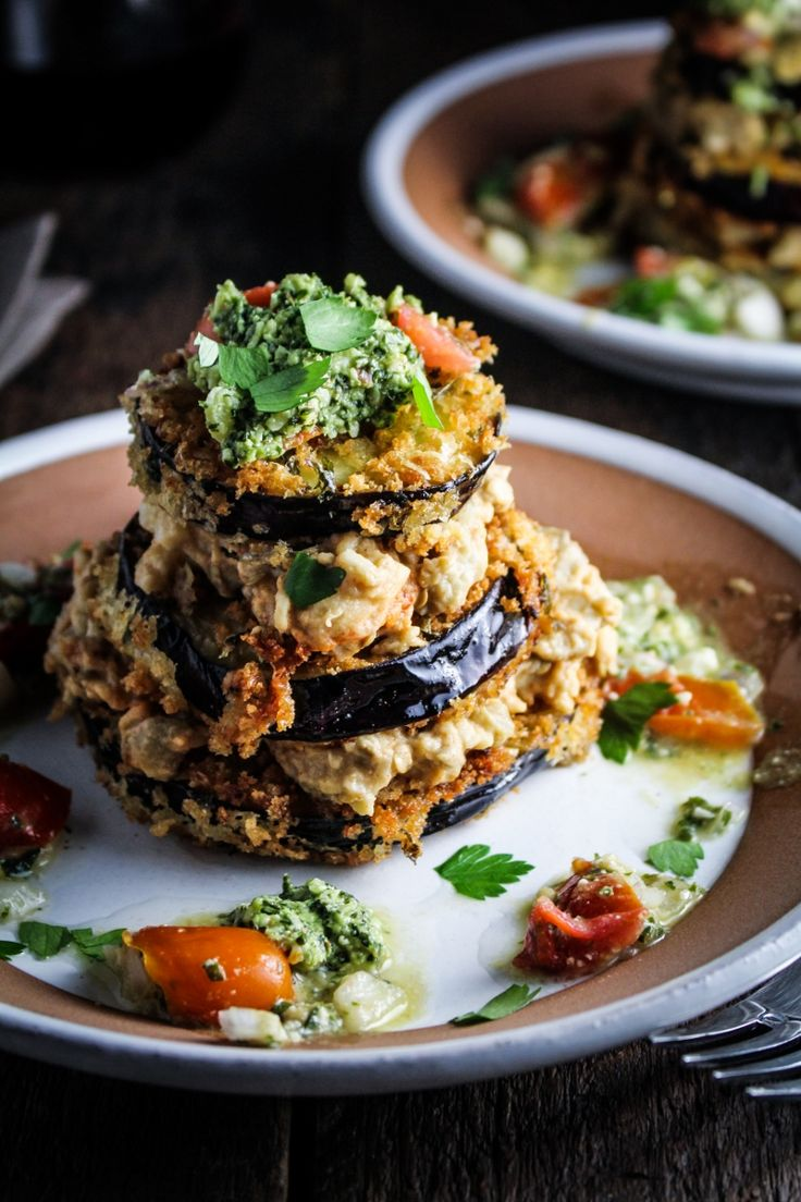 Pesto Marinated Eggplant, Baba Ghanoush, Tomato-Pesto Salad (recipe) / by Katie at the Kitchen Door