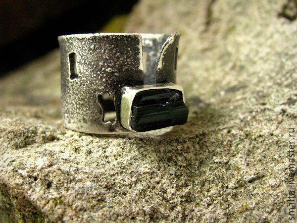 Купить Кольцо зеленый турмалин в серебре - серебро, тёмно-зелёный, серебряные украшения, серебряное кольцо