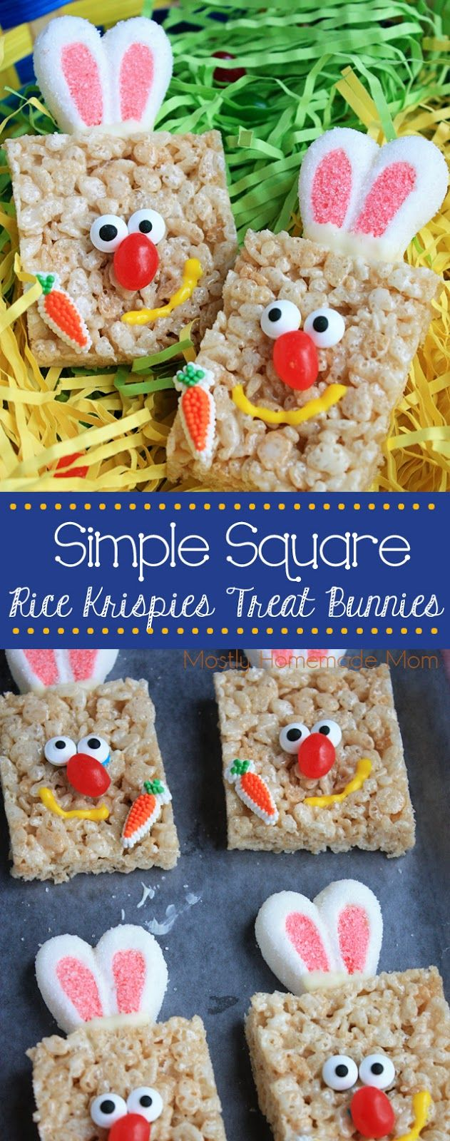 128 best easter treats images on pinterest rice krispies treats simple square rice krispies treat bunnies no need to get super fancy for these fun negle Gallery