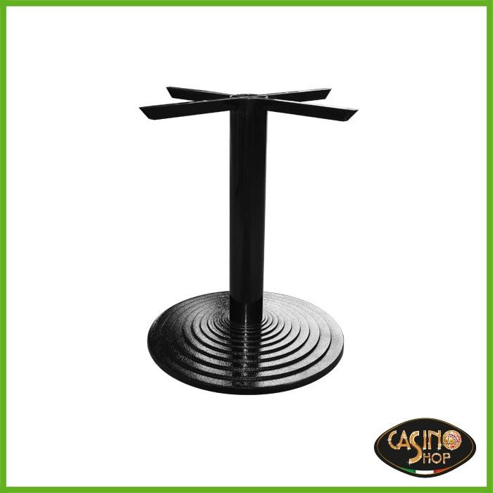 ART.0096 Base per tavolo in ghisa con solido appoggio di diametro 60 cm e tubo tondo verniciato.  Altezza 74 cm. La base del tavolo è disponibile in nero ed è fornita di piedini a vite regolabili in altezza.