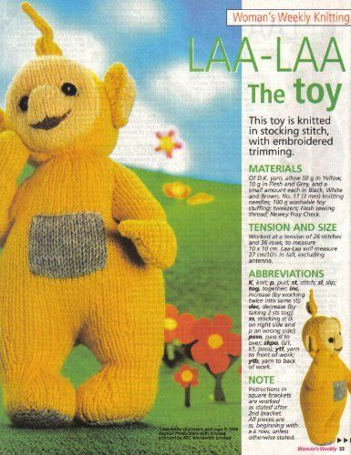 Teletubbies Laa Laa Toy Knitting Pattern Designed By Alan