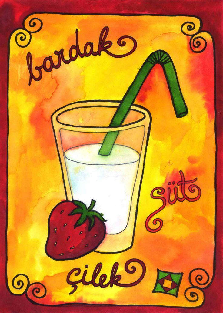 Nyár - törökül - Kacskaringó summer, strawberry, gold, red, yellow, anilin painting, türkce, learning turkish, milk, breakfast