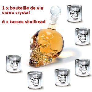 MVpower 320ML Bouteille de Vin Crane de Crystal Carafa a Decanter Whisky Vodka+ 6 Verre Tete de Mort Headskull Glass