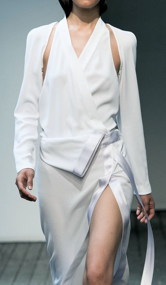 White wrap dress with ribbon-edged trim; runway fashion details // Dion Lee Spring 2015