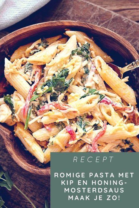 Romige pasta met kip en honing-mosterdsaus maak je zo!