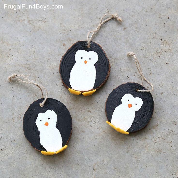 Wood Slice Penguin Christmas Ornaments