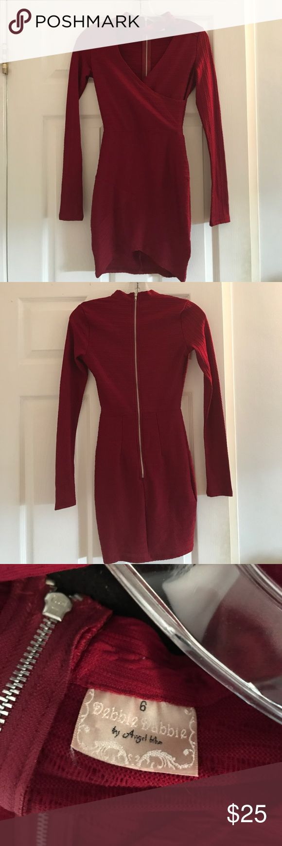 Red Long Sleeve Party Dress Purchased at an Australian online boutique (Aus size 6/US 4) So cute, with added detail at the neck ;) Zara Dresses Mini