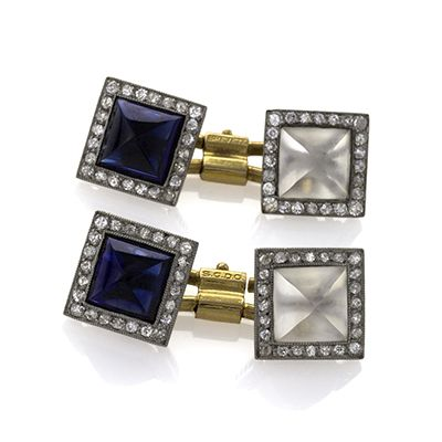 Art Deco Platinum, Gold, Diamond, Crystal and Sapphire Cuff Links.  Available exclusively at Macklowe Gallery.