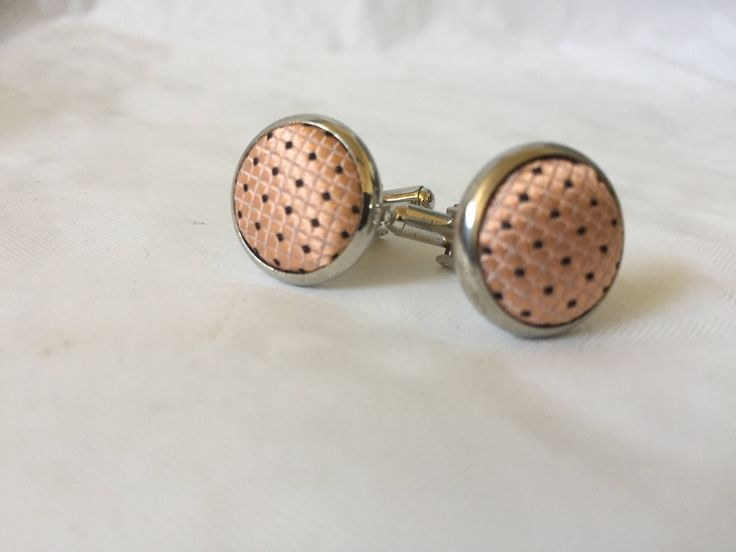 Cufflink/cufflinks/silver/coral and black/material by WifinpoofVintage on Etsy