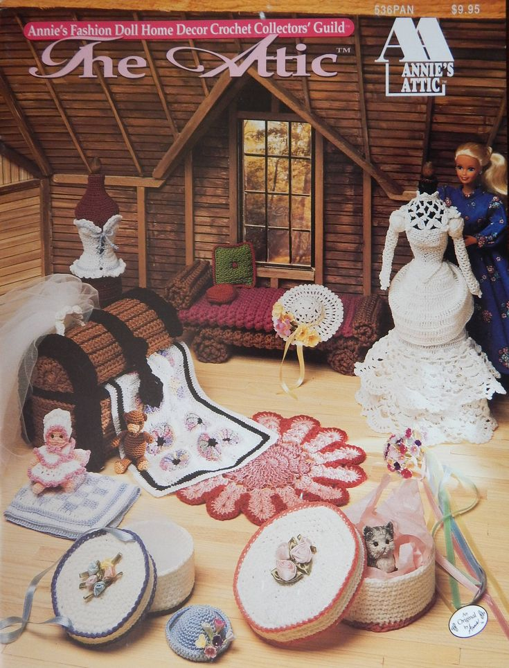 "Crochet Pattern For 11.5"" Doll/ The Attic Annie's Fashion Doll Home Decor Crochet Collectors/ furniture bridal gown trunk quilt/Slight Odor by RedWickerBasket on Etsy"