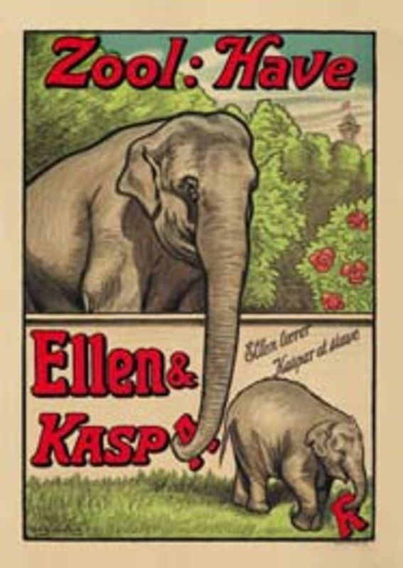 Vintage Danish Zoo Travel Poster