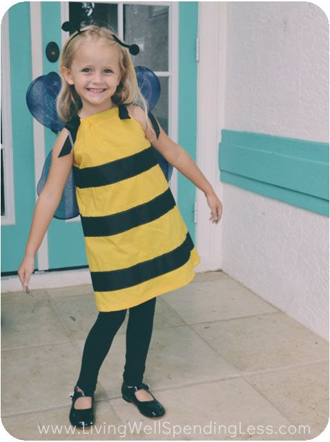 How to make a bumblebee costume.  So darling and SO simple to make!